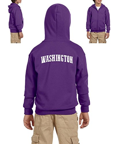 Ugo WA Seattle Map Cougars Redhawks Huskies Home University of Washington Heavy Blend Youth Full-Zip Hooded - Village Map University Seattle