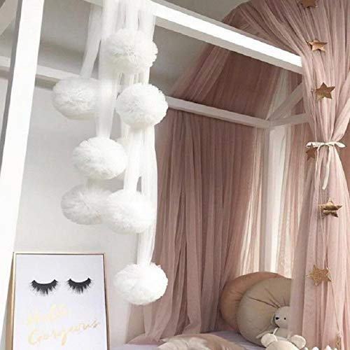 SRETAN Baby Kids Bed Canopy Mosquito Net White Pink Gray Curtain Bedding Crib Nursery Room Balls Chiffon Decor Bedroom Home Store Size 23.62 inch (White)