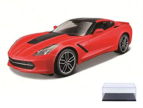 Diecast Car & Display Case Package - 2014 Corvette Stingray Z51, Red - Maisto 38132R - 1/18 Scale Diecast Model Toy Car w/Display Case ()