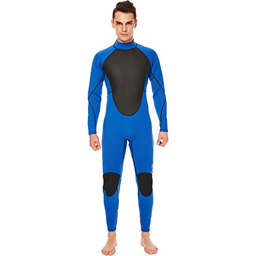 Realon Wetsuit Men Full 3mm Surfing Suit Diving Snorkeling Swimming Suit Jumpsuit (blue, X-Large) 3mm Full Wetsuit Diving Suits