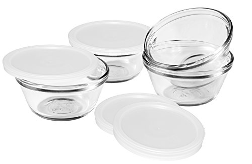 Anchor Hocking 80381L11 Set of 4 Custard Cups with 4 Lids, 6 ounces (Oven Safe Small Glass Bowls compare prices)