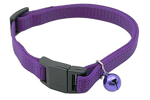 Cat Break-Away Collar - Purple Adjustable Nylon Break-Away Collar with a Color Matched Bell