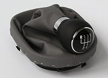 Vw Touran 1t Caddy 2k Original Schaltknauf Schalthebel Schaltsack Leder Schwarz Grau 5 Gang Auto