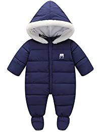 7e0b88aefb60 Baby Winter Romper Hooded Puffer Zipper Snowsuit Down Thick Jumpsuit ·  Tueenhuge