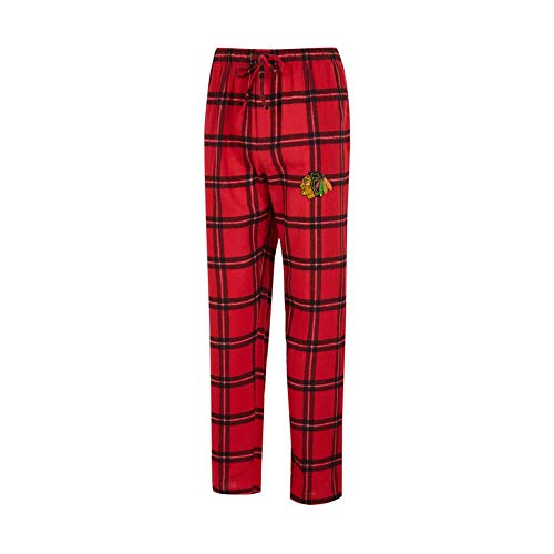 Plaid Logo Elastic Flannel - Concepts Sport Chicago Blackhawks Men's Pajama Pants Plaid Pajama Bottoms (Large)