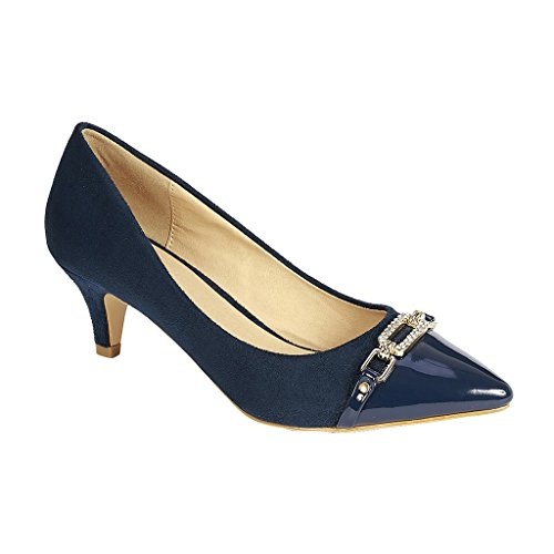 Coshare Women's Fashion Patent Embellished Front Low Heel Pumps, Navy, 8 M US ()