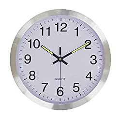 12-inch Sweep Movement Silent Non-ticking Analog Wall Clock - Silver Frame