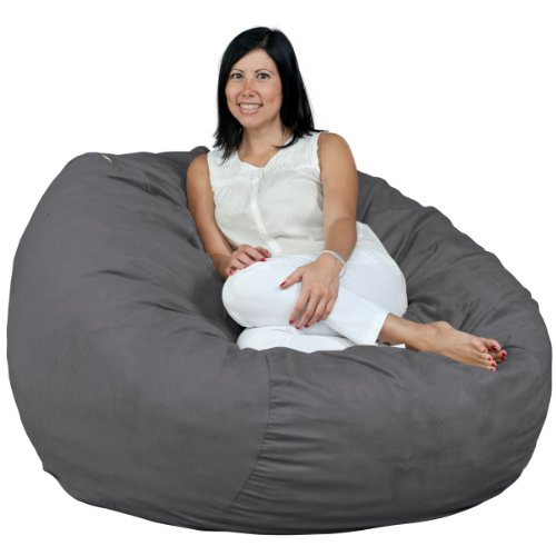 (FUGU Bean Bag Chair, Premium Foam Filled 4 XL, Protective Liner Plus Removable Machine Wash Grey Cover)