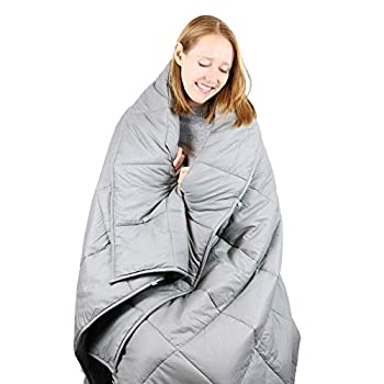 Image of Cooshi Adult 15 lb Weighted Blanket Queen Size | Cotton 60x80 | Grey Heavy Blanket and Comforter | Glass Beads | For Adults less than 160 lbs Cooshi B07FMMF5F7 Weighted Blankets