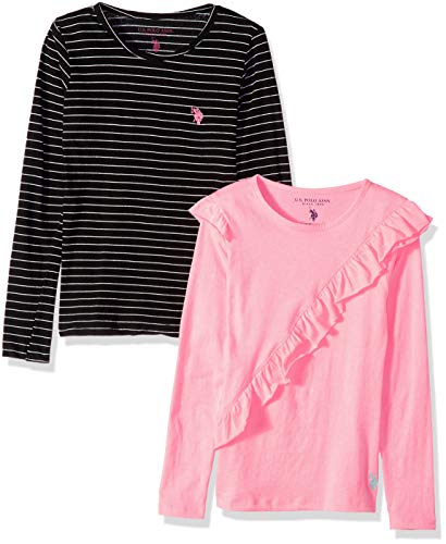 U.S. Polo Assn. Girls' Little 2 Pack T-Shirt, Neon Pink Ruffle Black Stripe Multi, 4