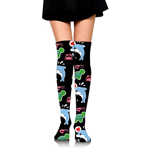 GERSWEET Ideal Gifts - Fashion Thigh High Long Tube Stockings for Women Over The Knee Socks with Sea Anemone Crab Dolphin Turtle Warm Comfortable Compression Socks