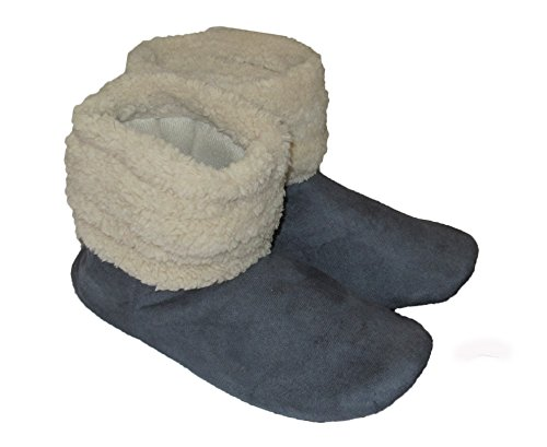Wave Shoes Pull Blue Casual Skin Women's Comfy gray Cozy House Booties Sheep on Faux qwRHFZC