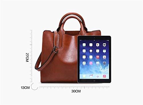 Brown Tamaño Mujer De Eeayyygch Smooth Hombro La Cuero Mensajero Pu Bolsos Blanco Bolsas Top color Viaje handle ZCqqEw6Wc