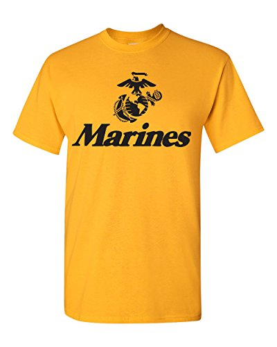 All Things Apparel Marine Corps Anchor and Eagle Men's T-Shirt - Large Gold (ATA426) (Gold Large Eagle)