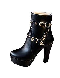yoyoiop Women's Round Head Thick Heel Boots Waterproof Platform High Heel Boots