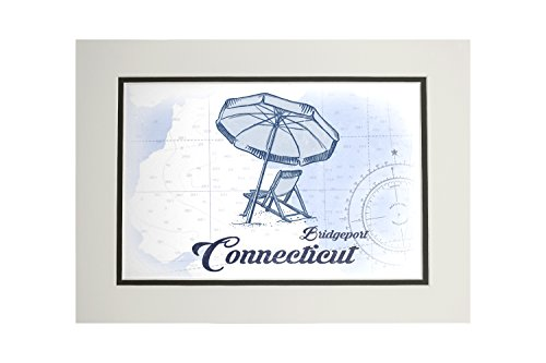 Bridgeport, Connecticut - Beach Chair and Umbrella - Blue - Coastal Icon (11x14 Double-Matted Art Print, Wall Decor Ready to Frame)