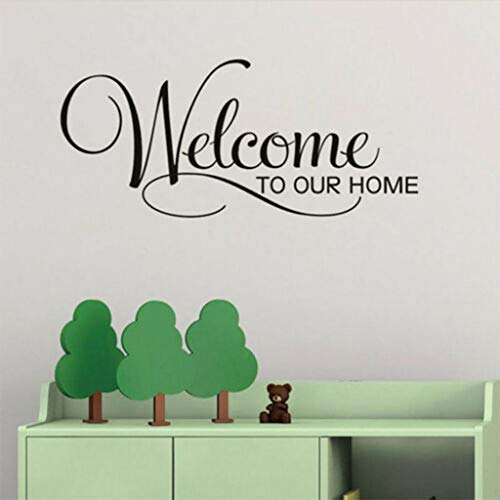 (NIHAI Welcome to Our Home Letter Pattern Large Wall Sticker, Peel and Stick Removable Vinyl Art Mural Decor for Kids Girl Baby Bedroom Living Room Home Decor)