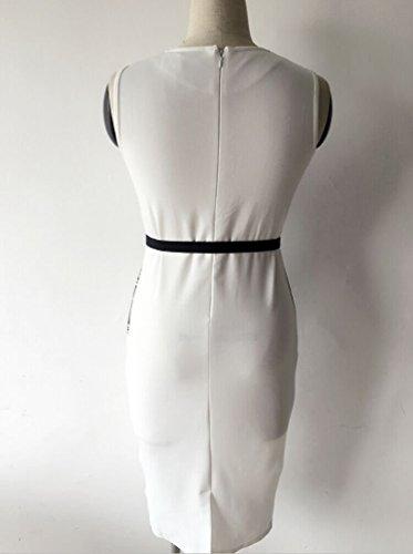... Minetom Damen Elegant Ärmellos Schößchen Blumen Business Kleid  Abendkleid Cocktailkleid Mini Bleistift Kleid mit Gürtel Weiß b75a5f3017