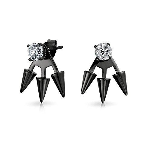 - Goth Triple Spike Point Arrow Cubic Zirconia Jacket Stud Earrings For Women Black Plated 925 Sterling Silver