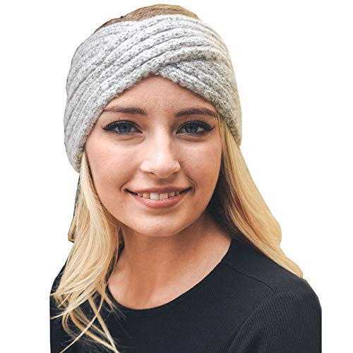 Womens Headwrap Knit Warm Mohair Headband Criss-Cross Turban(Grey) ()