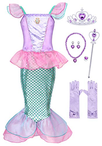 Mermaid Fancy Dress Costume (HenzWorld Girls Little Mermaid Dresses Costumes Ariel Princess Halloween Jewelry Accessories Birthday Party Cosplay Outfit Ruffle 6-7)