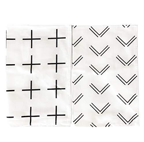 Black and White Scandinavian Tea Towel Set of 2 100% Cotton Hand Towel Modern Design