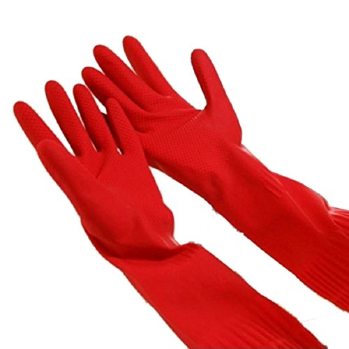 Doinshop Reusable Silicone Gloves with Wash Scrubber, Heat Resistant, for Cleaning, Household,Washing Dish Car(Red)