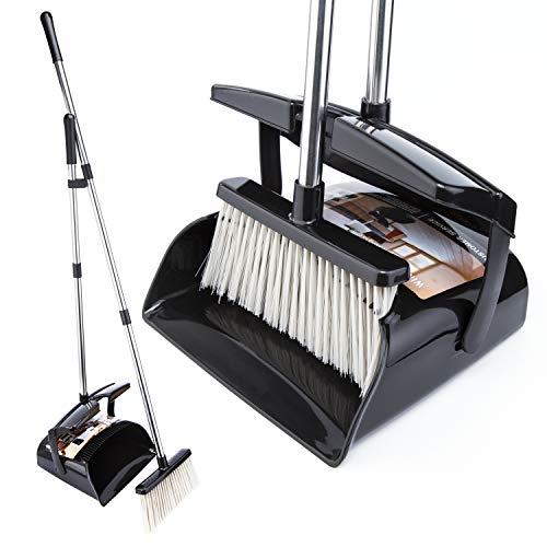Broom and Dustpan Set with Lid Outdoor Or Indoor Dust Pan 3 Foot Angle Heavy Push Combo Upright Long Stainless Steel Handle Kids Garden Pet Dog Hair Wood Floor Room Office (44441)