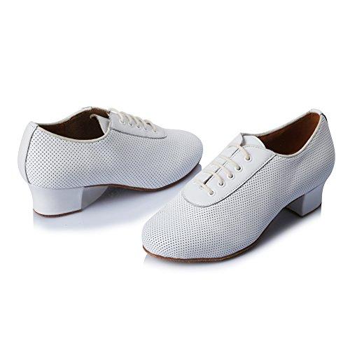 Zapatillas De Baile Para Mujer Roymall En Cuero Latino / Zapatillas De Salón / Zapatillas De Salón, Modelo Af50 Blanco-1
