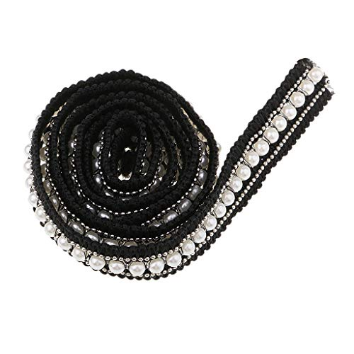 Daisy Pearl Chandelier Shade - 1 Ydx20mm Pearl Beaded Rhinestone Lace Trim Embroidered Wedding Dress Ribbon   Color - Black