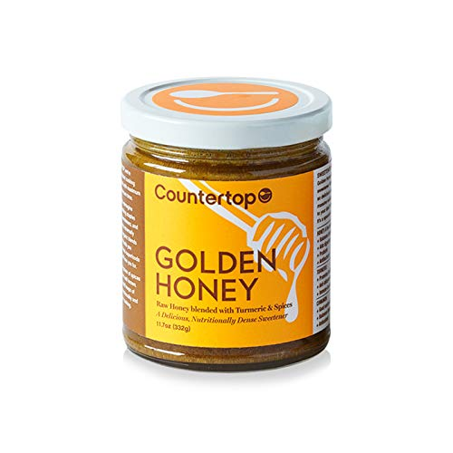 COUNTERTOP FOODS Raw Golden Honey (2-Pack) - Spiced & Creamed - Infused with Superfoods Turmeric, Cinnamon, Black Pepper, Cardamom, Coconut Oil, 11.7 ()