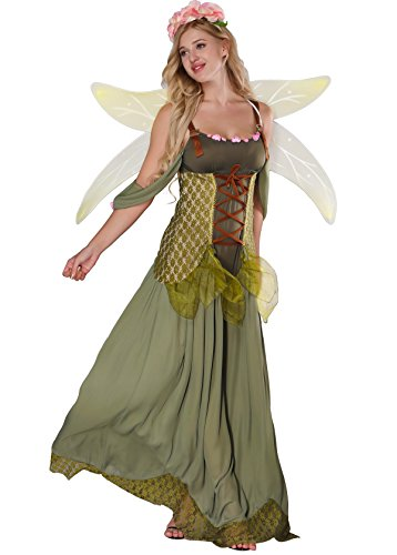 JJ-GOGO Fairy Costume Women - Forest Princess Costume Adult Halloween Fairy Tale Godmother Costumes (L) Green]()