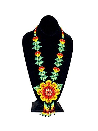 "NE812 Flower Leaf Fine Artisan Glass Beads Long Necklace 22"" Jewelry Guatemala from Unknown"
