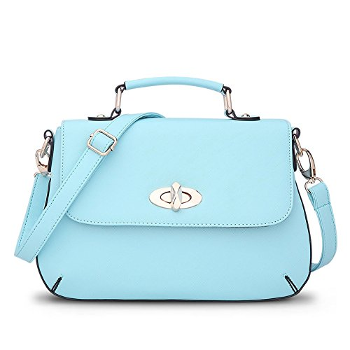 [Cloudbag HB30082 PU Leather Handbag for Women,Fashion Solid Small Square Package,Lightcyan] (Ny Costumes Rental)