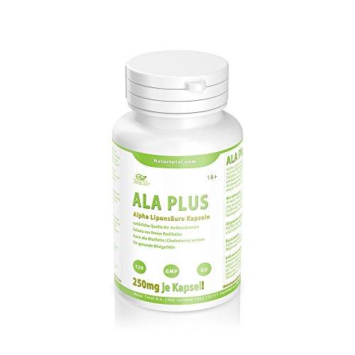 ALA PLUS - Alpha Liponsäure 120 Kapseln - Hochdosiert mit 250mg je Kapsel