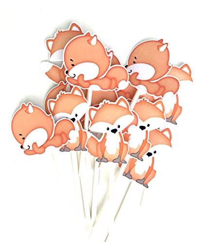 Little Fox Cupcake Toppers 12 pcs, Neutral Cake Picks Birthday Decoration Party Supplies, Woodland Baby Shower Themed Celebration