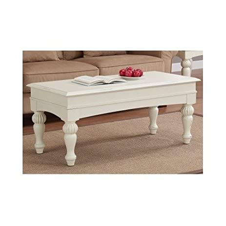 Elegant Off White Coffee Table Distressed Wood