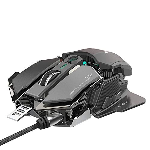 ZFD Wired Mouse, Mechanical Gaming Mouse 10 Key Programmable Light Cool Plug and Play Four-Way Wheel USB Laptop Mouse Ergonomic Design (15.9 12.1 4.7 cm),Gray ()