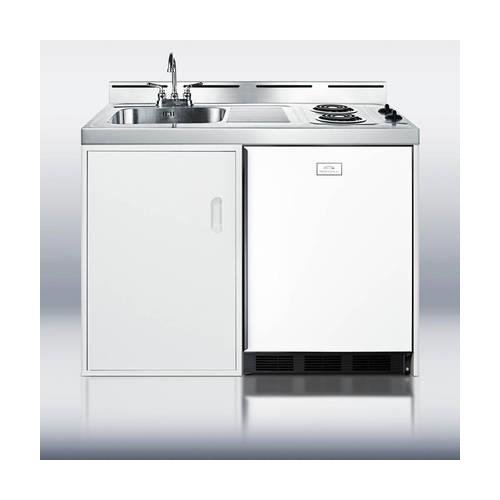 Summit C48EL Kitchen All in One Combination Unit, White
