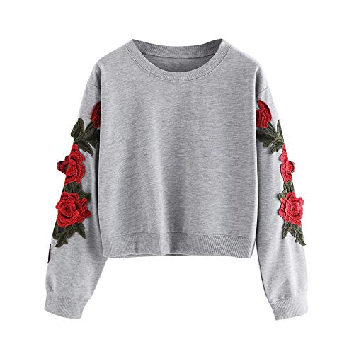 Red Ta Women Autumn Long Sleeve Rose Applique Crop Top Pullover Sweatshirt Top Blouse - Pullover Applique