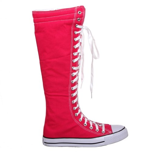 Skate Knee Lace Punk Up Sneakers Flat High Canvas Womens Fuchsia YnByO