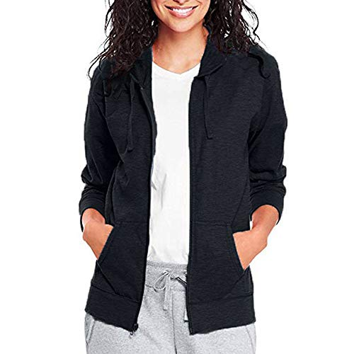 Pervobs Coat&Jacket, Clearance! Women Loose Long Sleeve Solid Classic Slim Full Zip Hoodie Thin Jacket Coat Pockets (L, (Shaggy Lined Hoody)