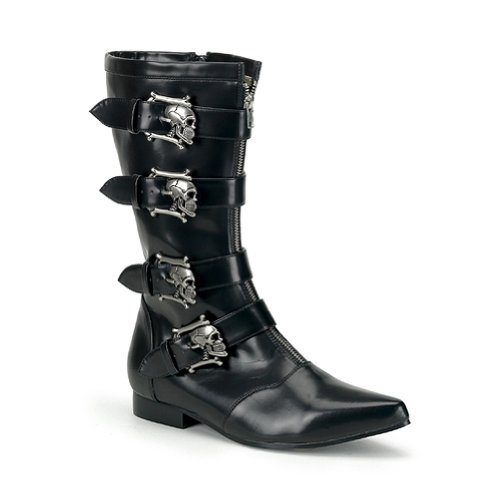 Boots Buckle Skull (Mens Calf Boots Skull Buckles GOTH Boot Theatre Costumes Accessory Black Size:)