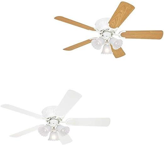 TXDZ Ventilador de techo de perfil bajo Kisa White de 105 cm / 41 pulgadas con 3 luces, cadenas de tiro y cuchillas reversibles en blanco y arce: Amazon.es: Iluminación