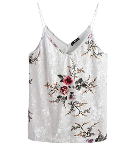 (SheIn Women's Casual Basic Strappy Velvet V Neck Cami Tank Top X-Small Floral Beige)