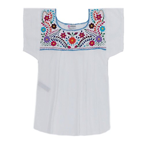 Mexican Clothing Co Womens Mexican Blouse Tehuacan Light Manta X-Small White 7288