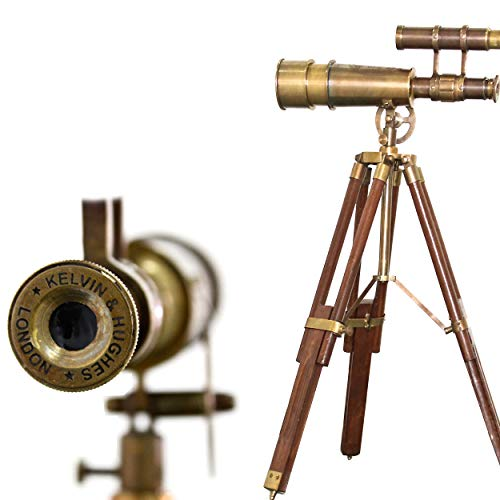 A Table Décor Telescope Vintage Marine Gift Functional Instrument Collectibles Gift Item (Brass Antique + Wood)