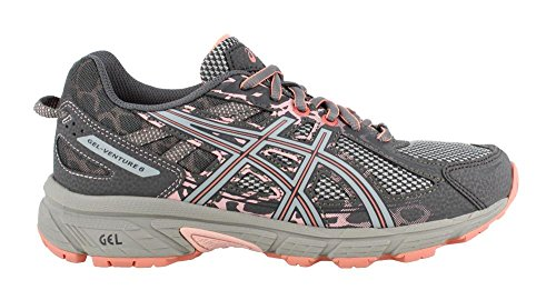 ASICS Womens Venture 6 Running Sneaker, Carbon/Mid Grey/Seashell Pink, Size 8 Wide