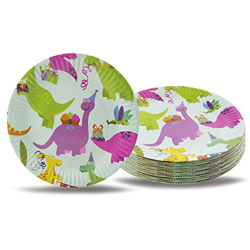 CODOHI Dinosaur Paper Plates, 72 Pack Cute Cartoon Dino Plates Dinosaur Themed Kids Birthday Party Supplies, 7 Inch Round Cake Dessert Plates -