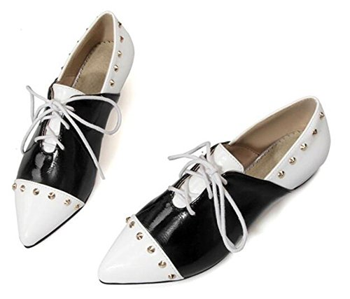 CHFSO Womens Sexy Rivets Pointed Toe Lace Up Low Top Low Heel Flats White 2ONA7c